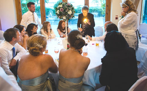 Performing magic at a wedding